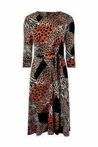 Womens Dorothy Perkins Mix And Match Animal Dress -  Cream