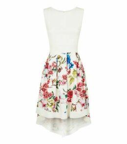 Mela White Floral Dip Hem Dress New Look