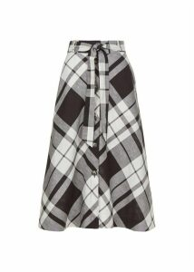 Lucia Linen Blend Skirt Black White