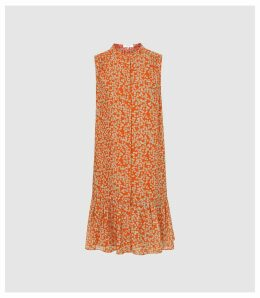 Reiss Nia - Printed Shift Dress in Coral, Womens, Size 16