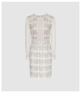 Reiss Aria - Geometric Lace Dress With Sheer Sleeves in White, Womens, Size 16
