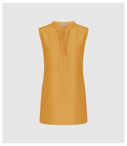 Reiss Cecily - Silk Button Detail Top in Orange, Womens, Size 14