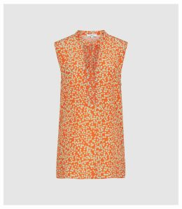 Reiss Cecily Print - Silk Button Detail Top in Coral, Womens, Size 14