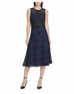 Donna Karan Floral Lace Midi Dress
