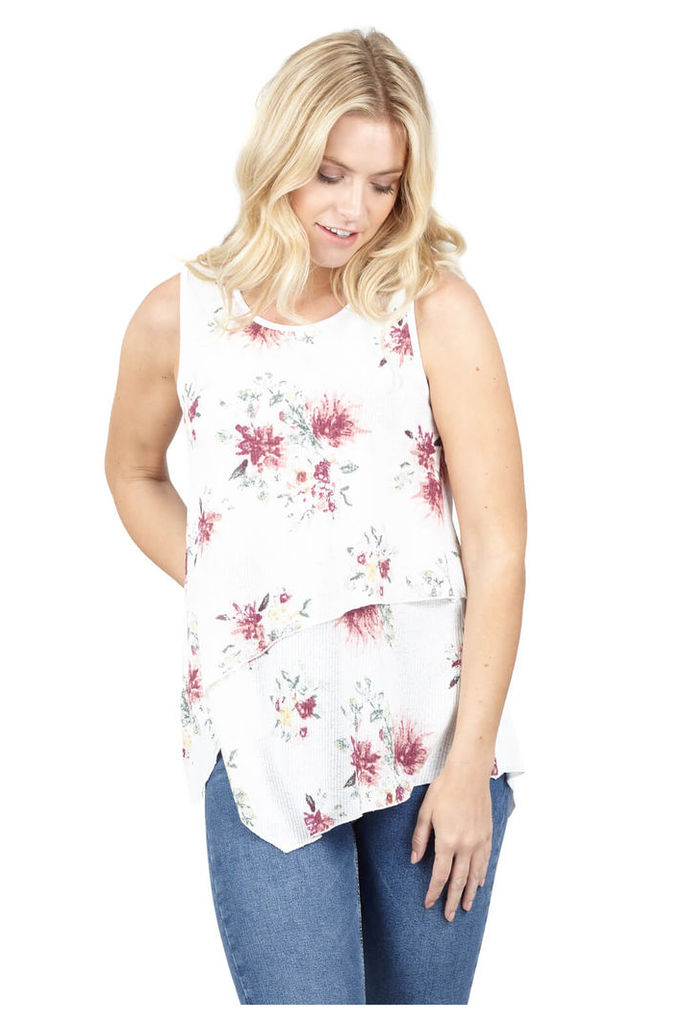 Izabel London Floral Layered Front Top