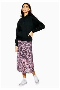 Womens Pink Zebra Mesh Midi Skirt - Pink, Pink