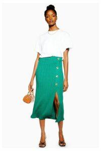Womens Green Button Ribbed Midi Skirt - Dark Green, Dark Green