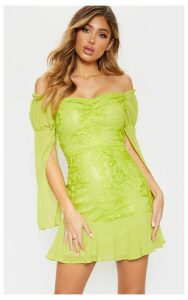 Lime Green Lace Puff Sleeve Frill Detail Bodycon Dress, Green