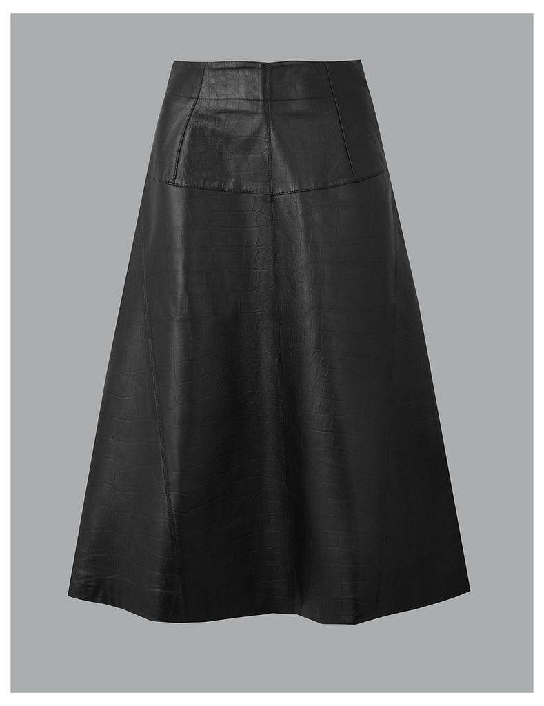 Autograph Leather Fit & Flare Midi Skirt