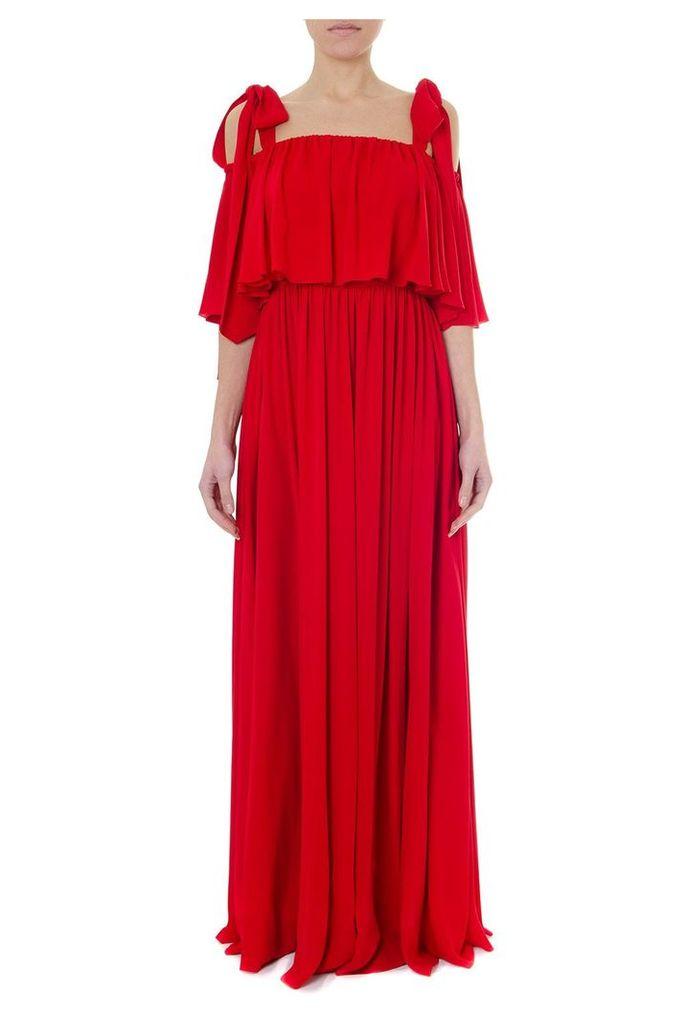 Valentino Flared Red Silk Long Dress