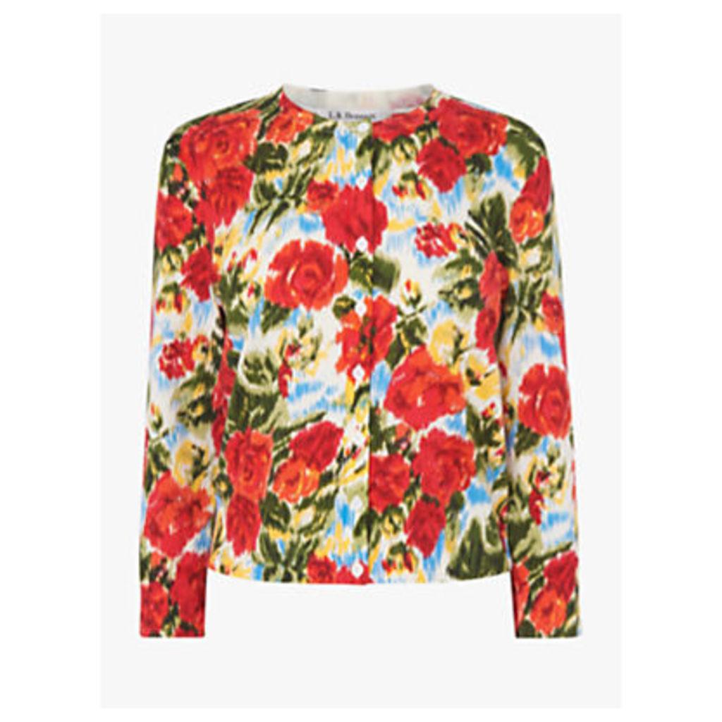 L.K.Bennett Tissie Floral Cardigan, Rose Floral