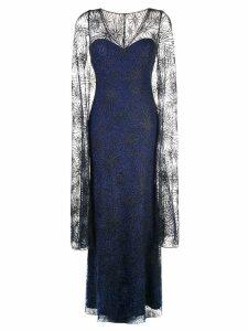Tadashi Shoji sheer cape evening dress - Blue