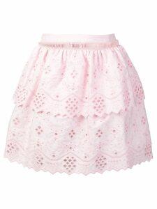 Alberta Ferretti embroidered mini skirt - Pink