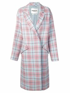 Essentiel Antwerp checked double breasted coat - Blue