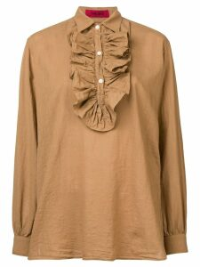 The Gigi pleated bib blouse - Neutrals