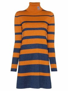 Prada Logo turtleneck metallic dress - Orange
