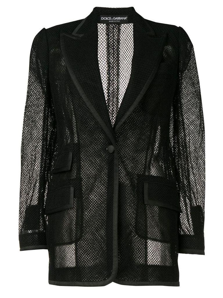 Dolce & Gabbana mesh single-breasted blazer - Black