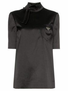 Prada High-neck satin logo top - Black
