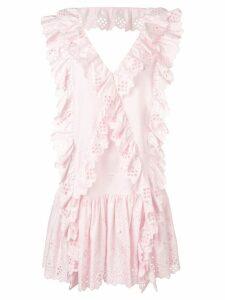 Alberta Ferretti ruffle trim shift dress - Pink