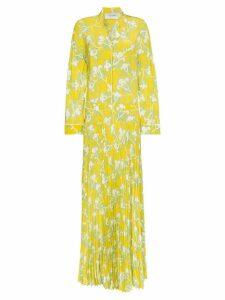Valentino graphic elder crepe de chine maxi dress - Yellow
