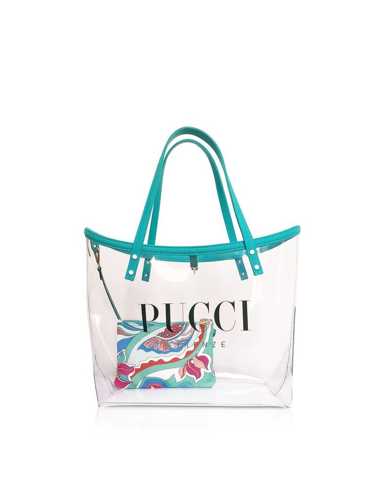 Emilio Pucci Designer Handbags, Transparent Signature Tote Bag w/pouch