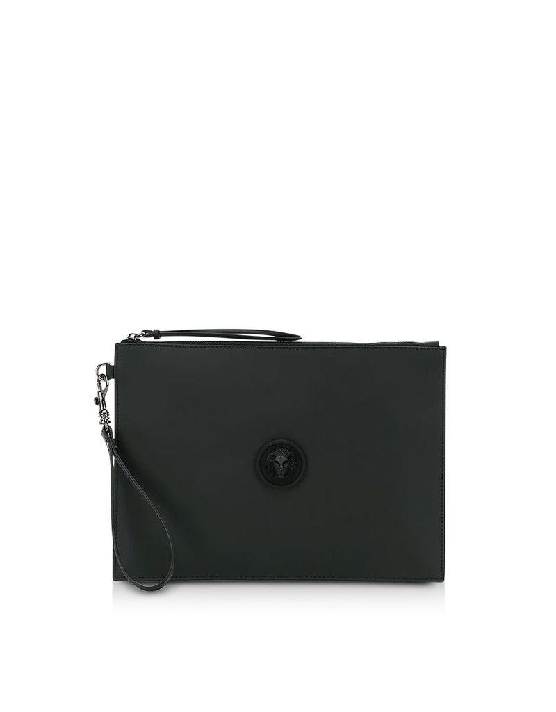 Versace Versus Designer Handbags, Black Gommato Leather Pouch