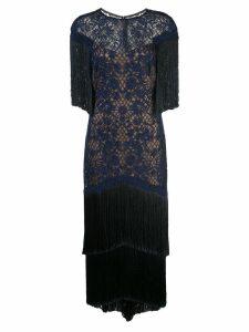 Tadashi Shoji fringed evening dress - Blue