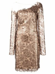 Tadashi Shoji sequin patch mini dress - Brown