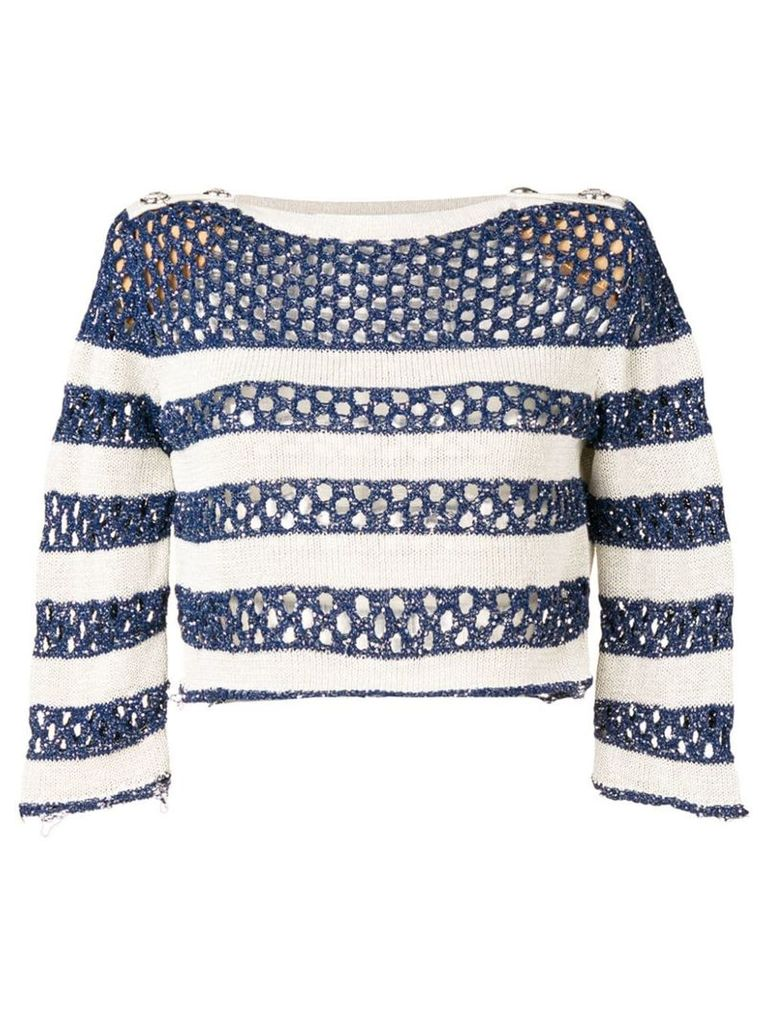 Balmain striped open knit jumper - Blue