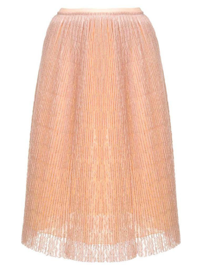 Marco De Vincenzo micro pleated lace skirt - NEUTRALS