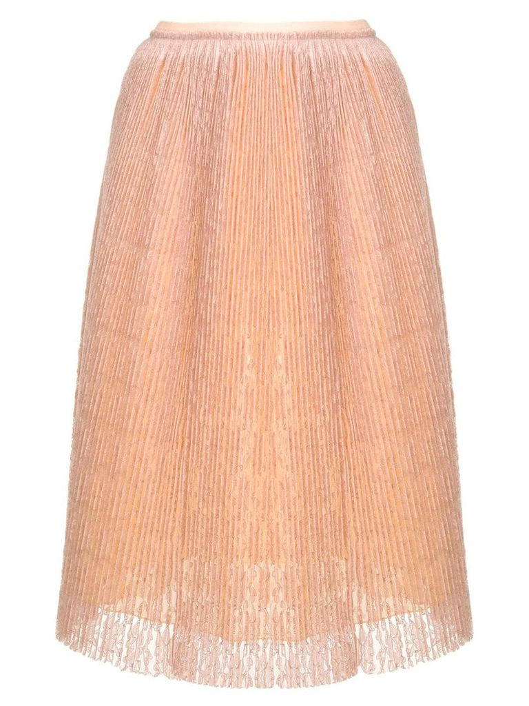 Marco De Vincenzo micro pleated lace skirt - Neutrals