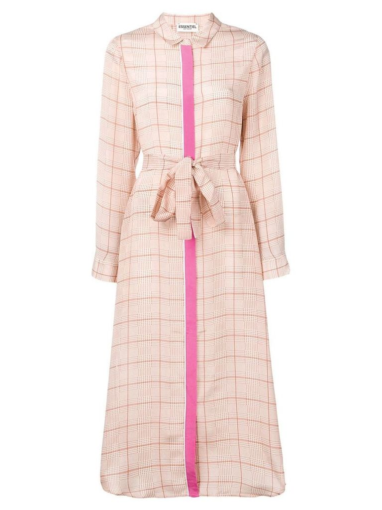 Essentiel Antwerp check maxi shirt dress - Neutrals