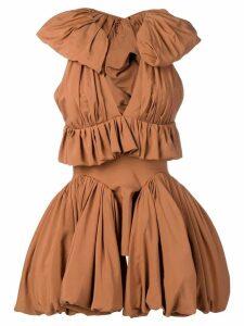 Maticevski ruffle trim dress - Brown