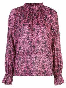 Derek Lam 10 Crosby Long Sleeve Ethnic Floral Print Ruffle Neck Blouse