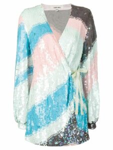 Circus Hotel sequinned wave wrap dress - Blue