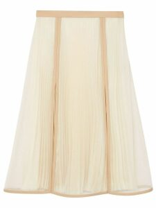 Burberry Chiffon Panel Silk Pleated Skirt - Neutrals
