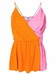 MSGM colour block sleeveless top - Orange