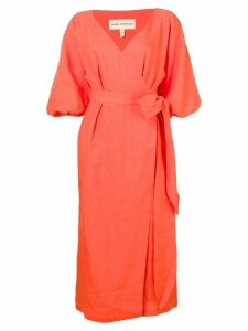 Mara Hoffman puff sleeves wrap dress - Orange