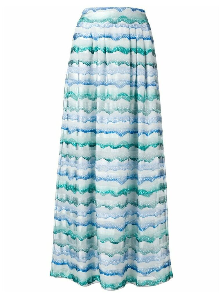 Emporio Armani waves print straight skirt - Blue