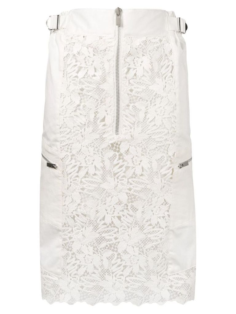Sacai zipped lace fitted skirt - White