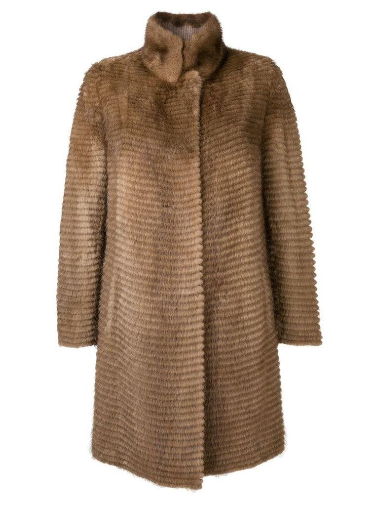 Liska fur trimmed coat - Brown