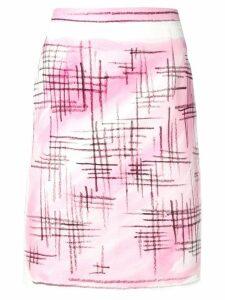Moschino brushstroke-style pencil skirt - White
