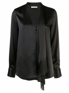 Oscar de la Renta fringed scarf top - Black