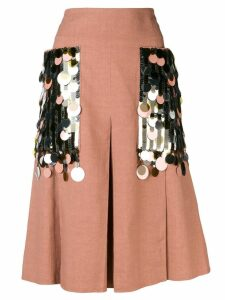 Bottega Veneta sequin embellished linen skirt - Neutrals