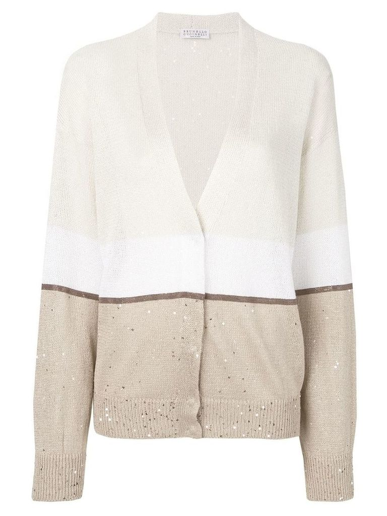Brunello Cucinelli colour blocked cardigan - Neutrals