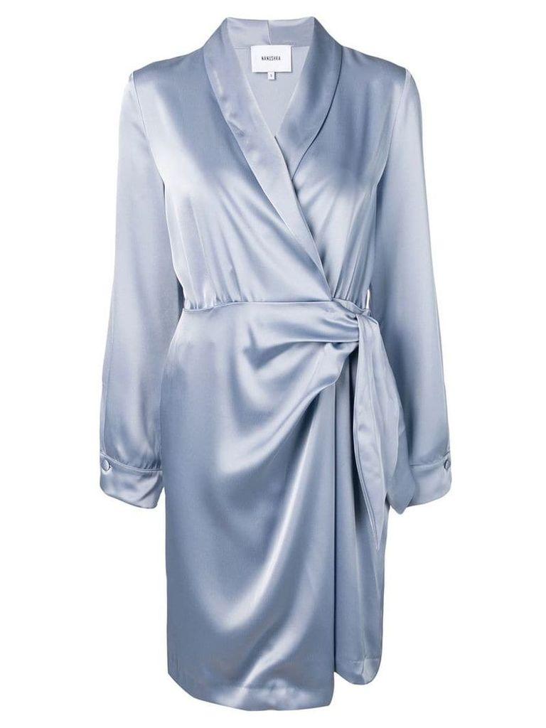 Nanushka long-sleeve wrap dress - Blue