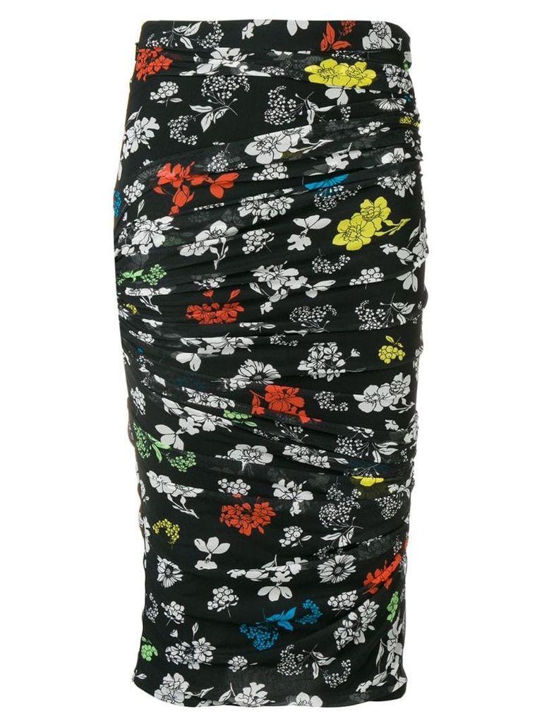 Versace draped floral print pencil skirt - Black