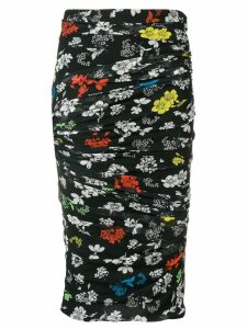Versace draped floral print pencil skirt - Black