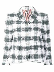 Thom Browne Silk Ribbon Gingham Check Sport Coat - Grey