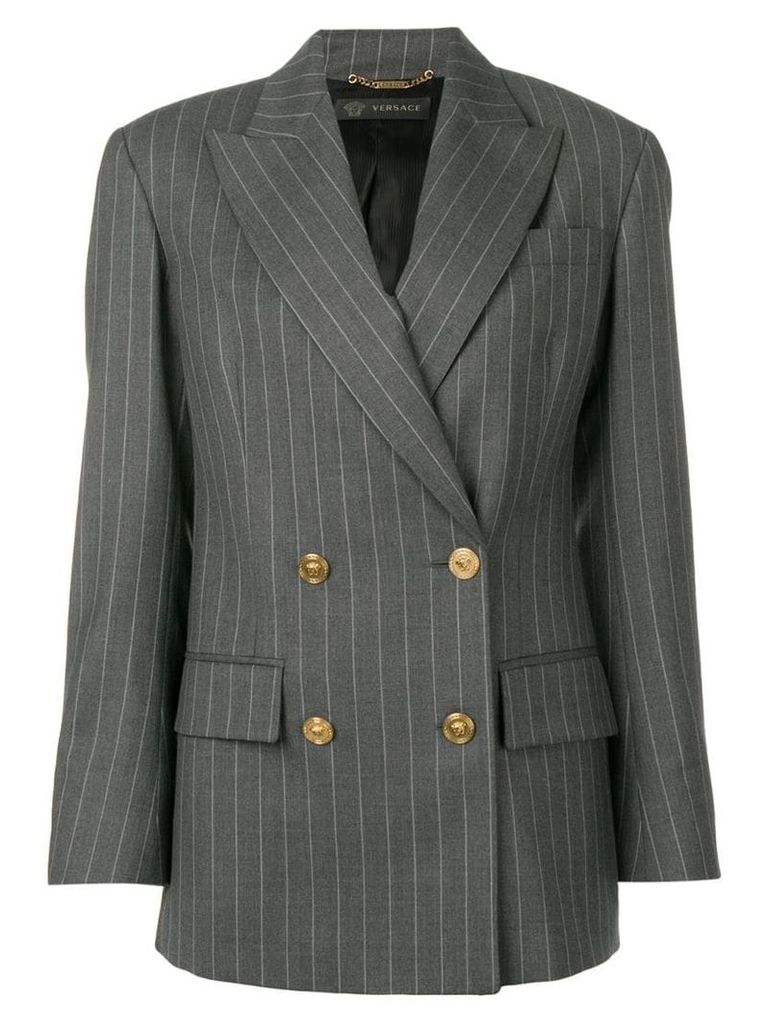Versace double breasted pinstripe blazer - Grey